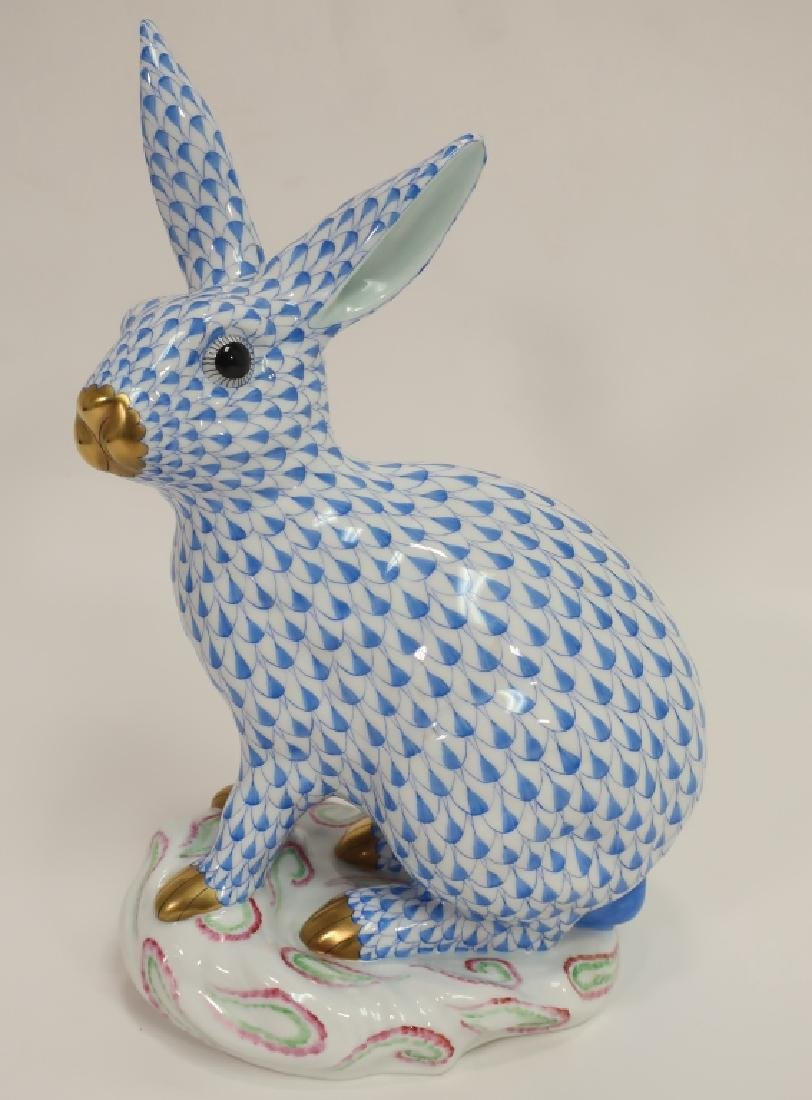 Herend Rabbit in Blue Fishnet with Gold