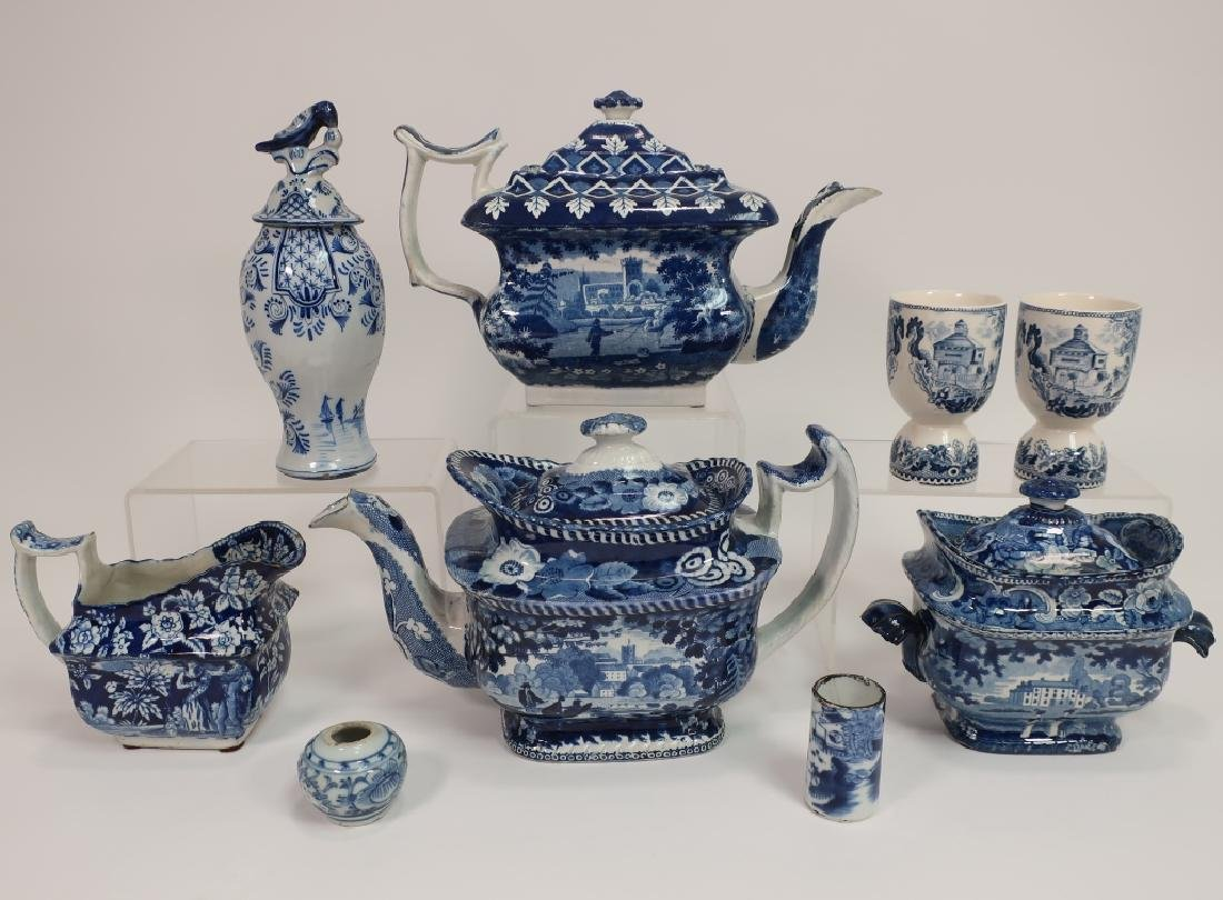 9 Blue Staffordshire Transfer Teapots, a Delft Urn
