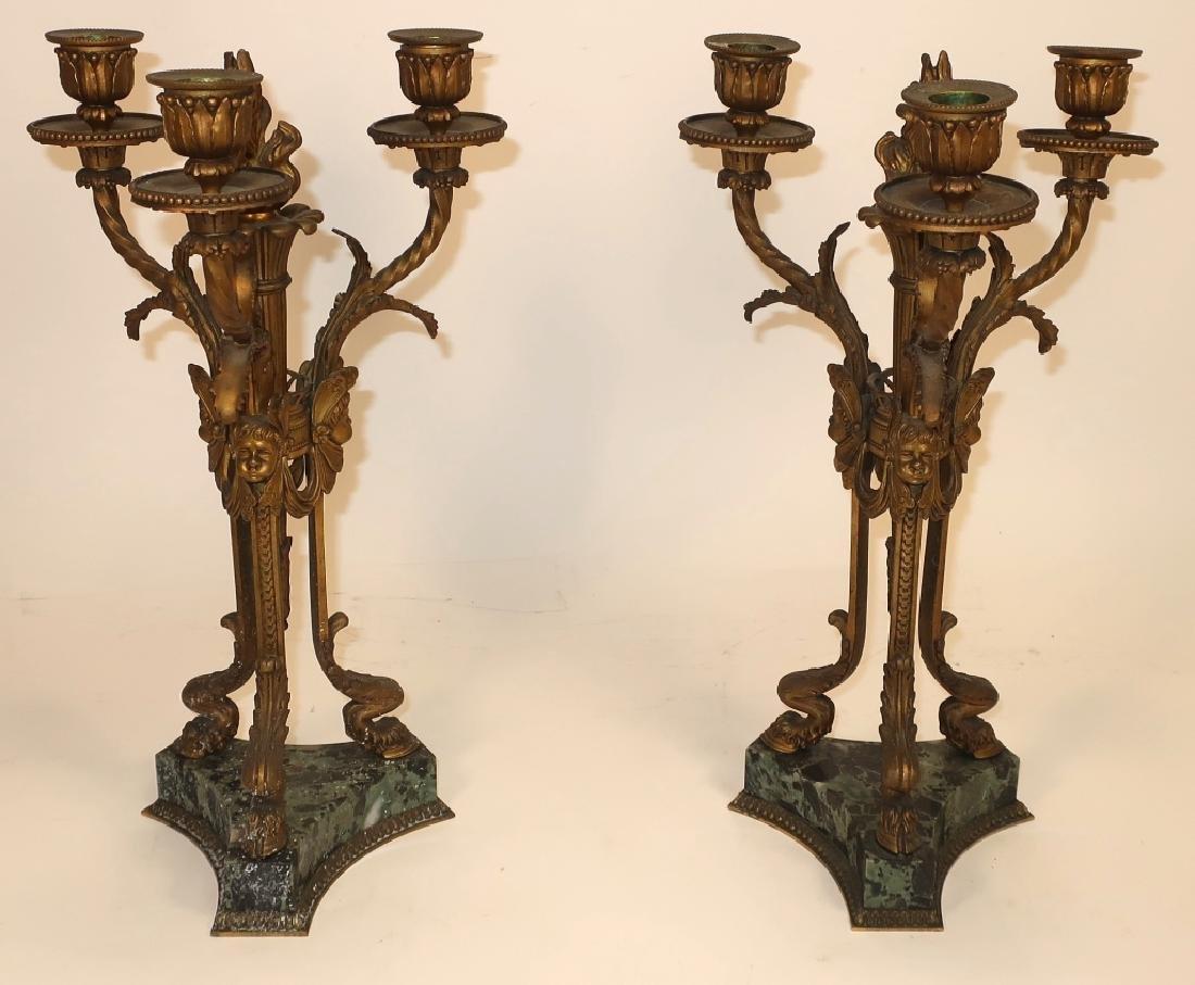 Pr. Empire Style Gilt Bronze 3-Light Candelabra