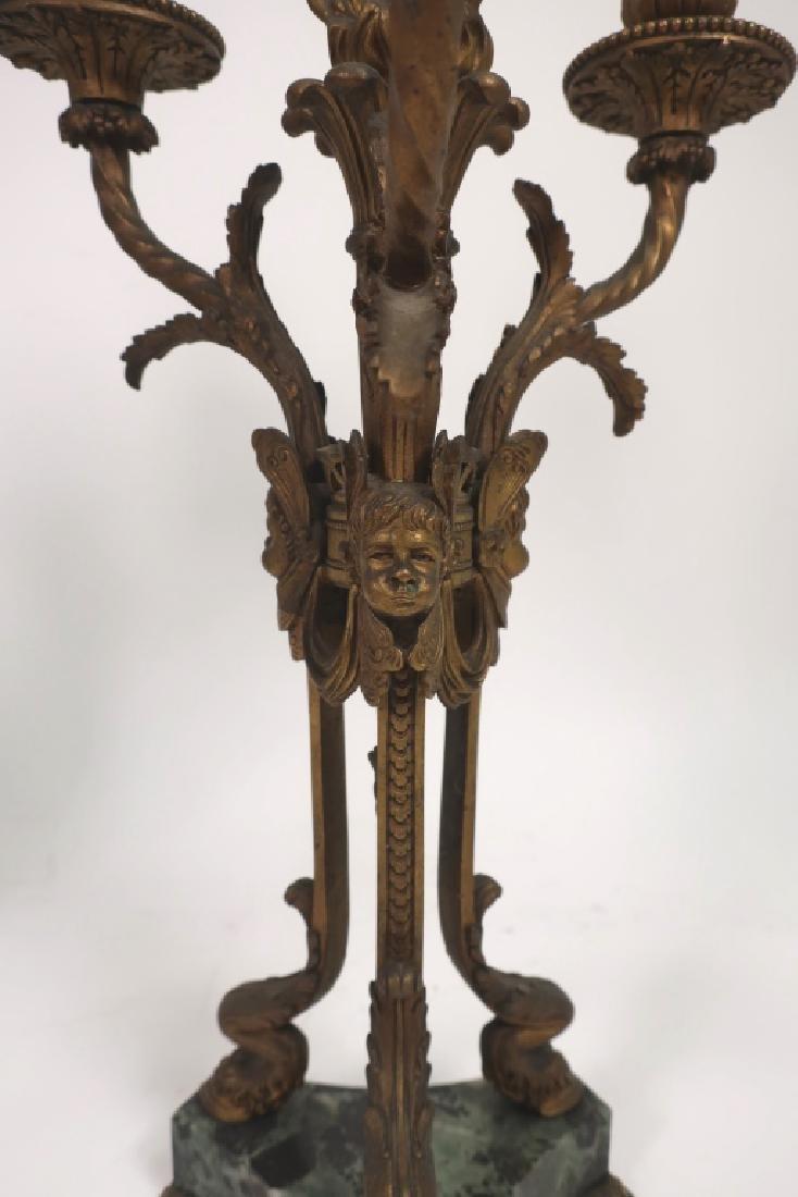 Pr. Empire Style Gilt Bronze 3-Light Candelabra - 2