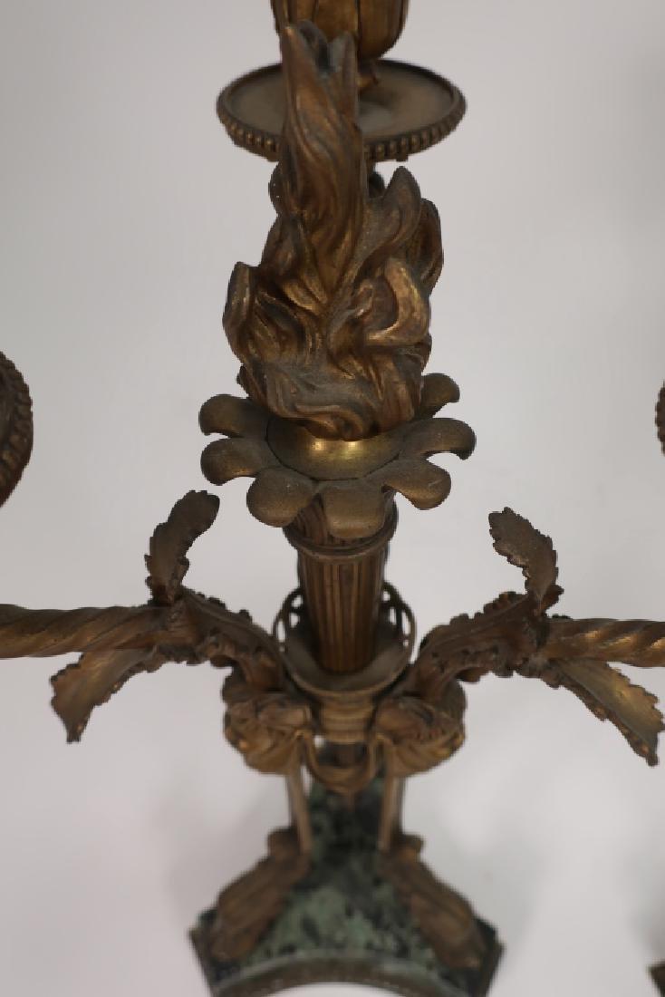 Pr. Empire Style Gilt Bronze 3-Light Candelabra - 7