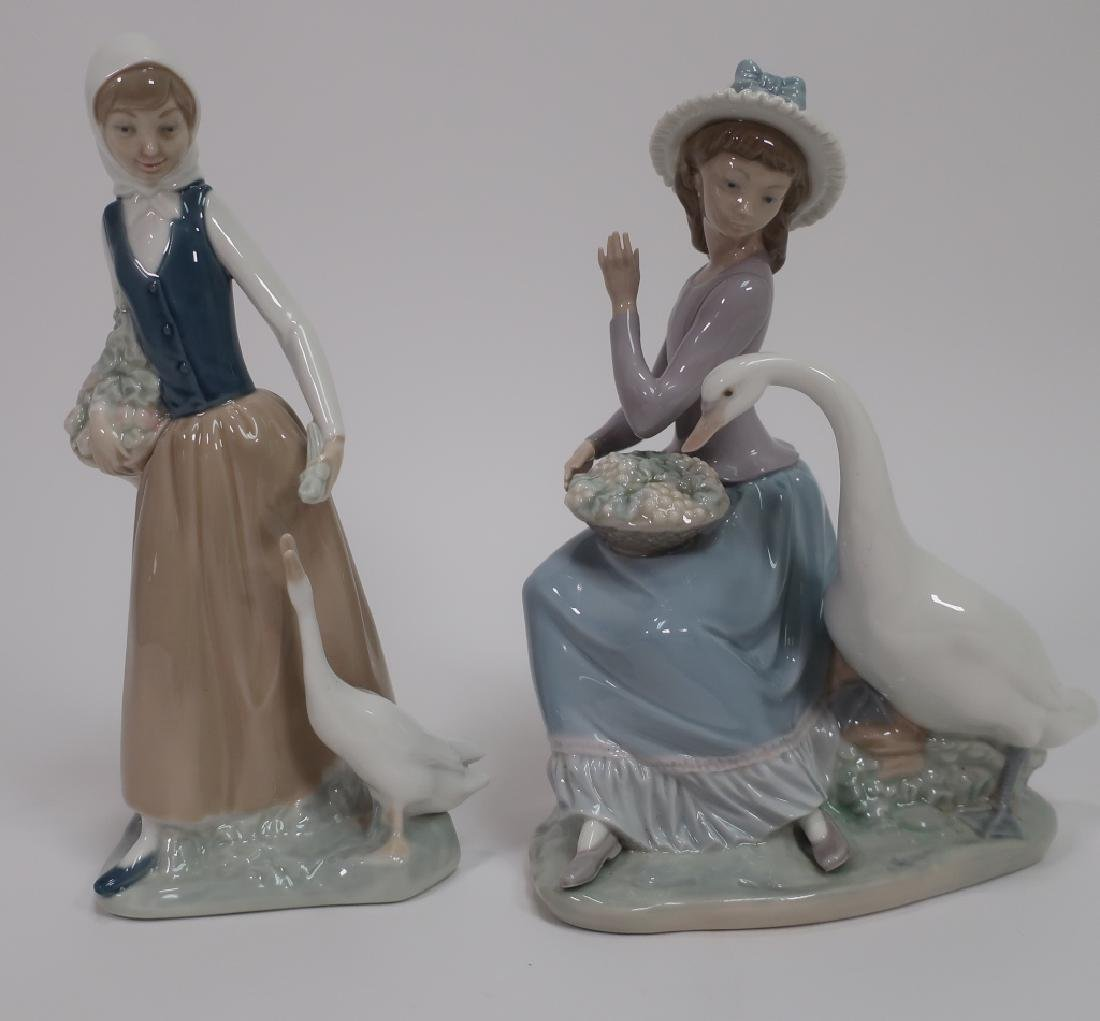 2 Lladro Figurines, Girl with Goose