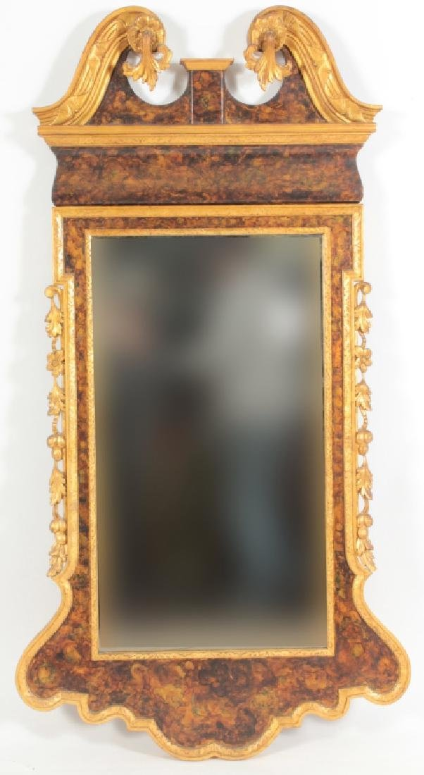 George II Style Gilded & Painted Mirror, 20th c