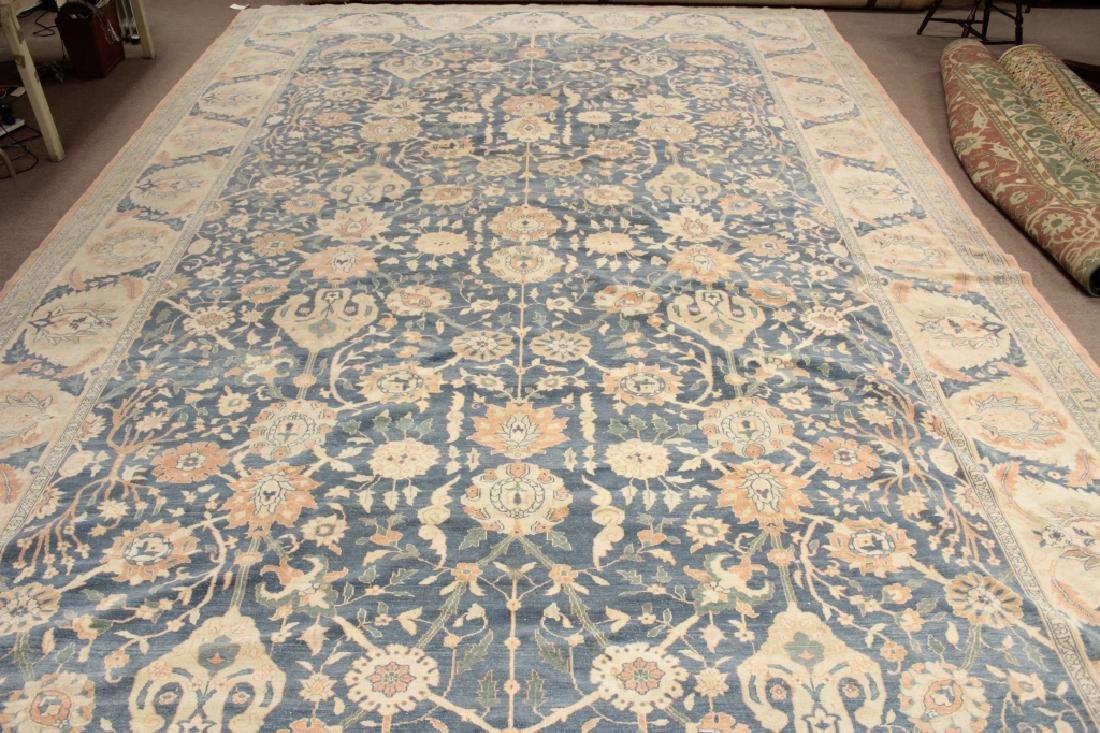 Oversized Egyptian Carpet, Pale Blue Field w Flowers - 2