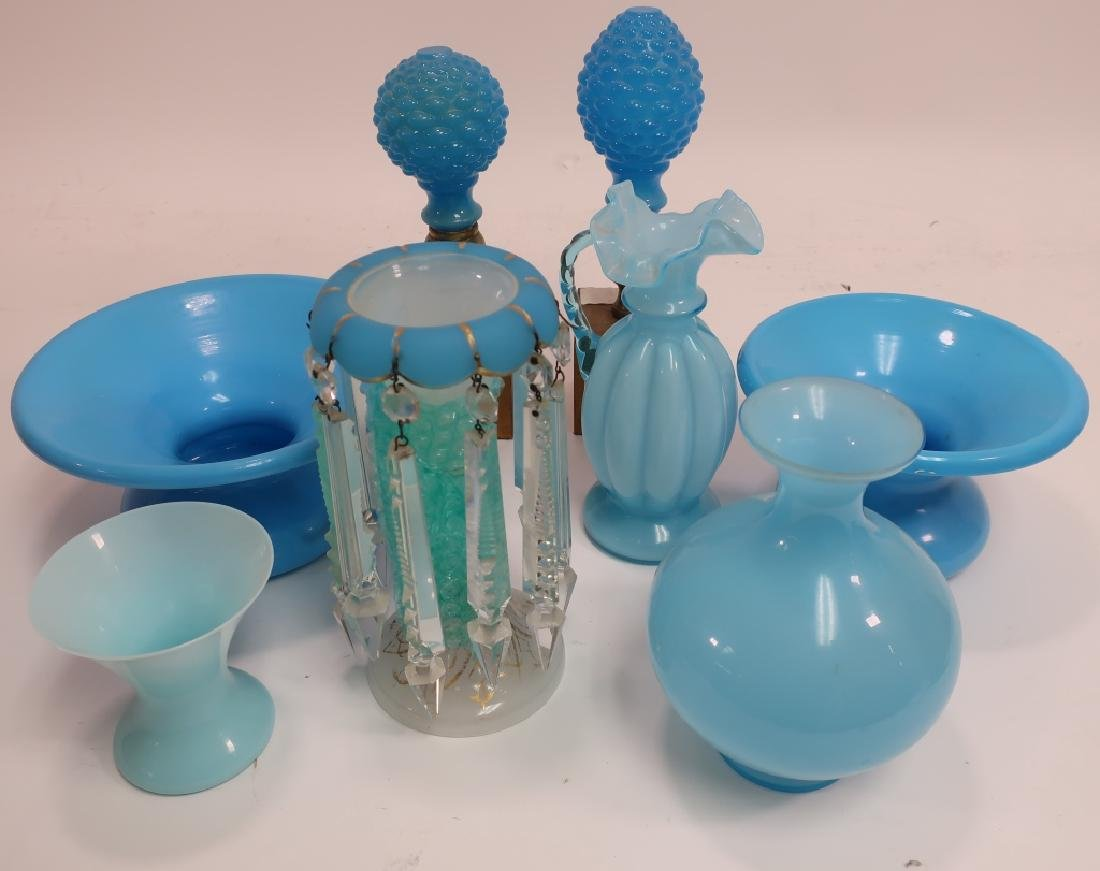 Eight Pieces of Vintage Blue Opaline Glass