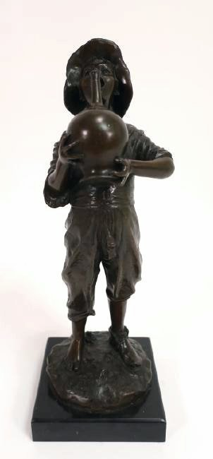 "Bronze Boy with Jug, Marble Base, Signed, 16"" Tall"
