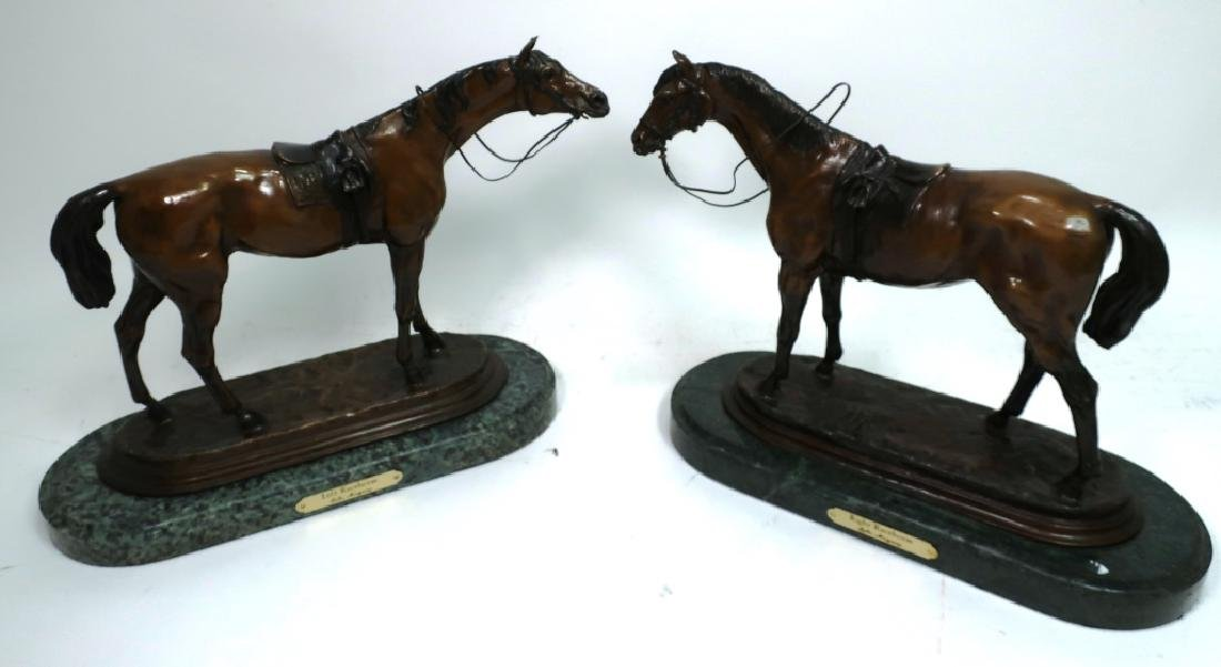 After Jules Moiqniez, 1835-84, Bronze Race Horses