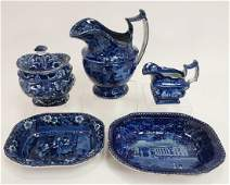 5 Historical Blue Staffordshire Wood Pitcher