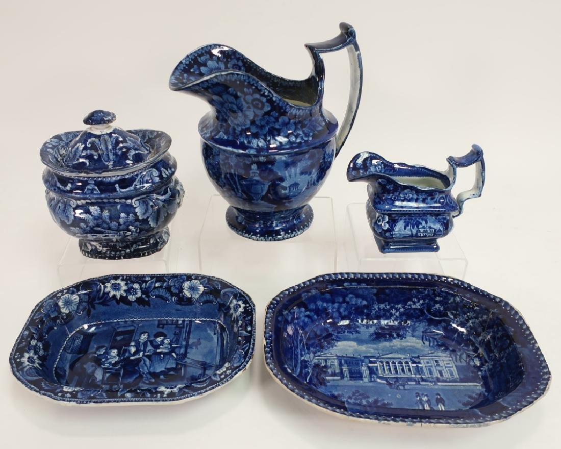 "5 Historical Blue Staffordshire, 'Wood"" Pitcher"