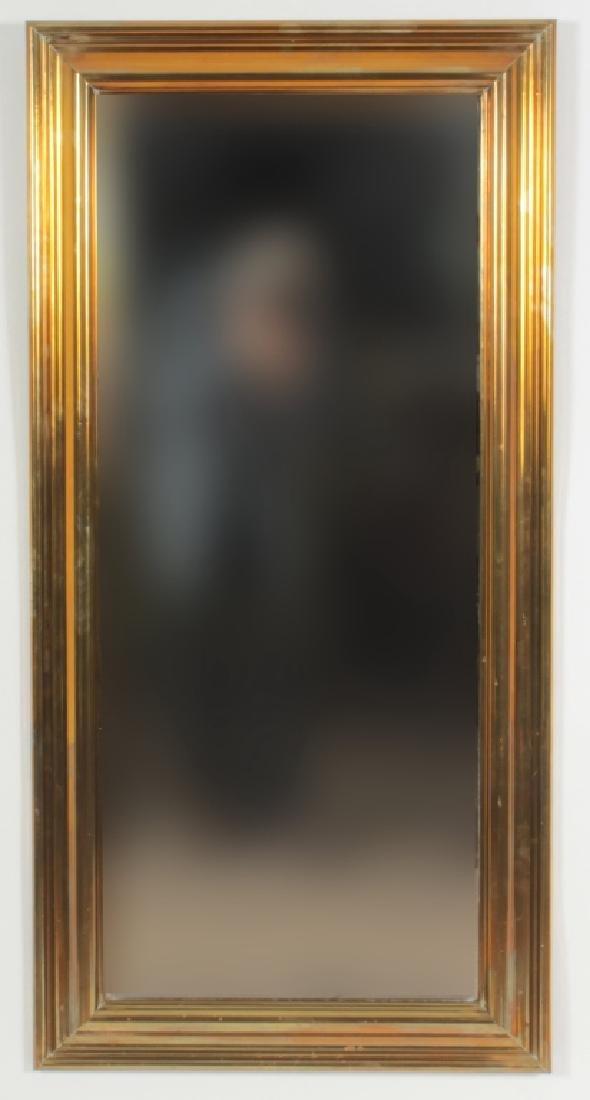 Large Brass Framed Beveled MIrror