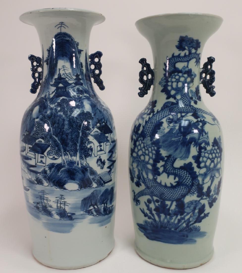 2 Chinese Blue Decorated Vases, One Celadon Glazed