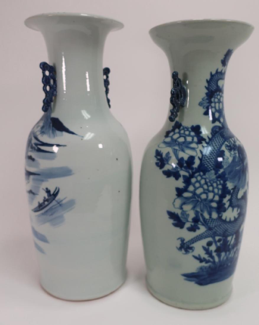 2 Chinese Blue Decorated Vases, One Celadon Glazed - 2