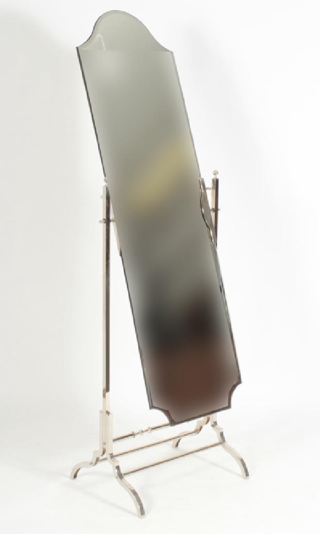 Contemporary Chrome/Glass Cheval Mirror