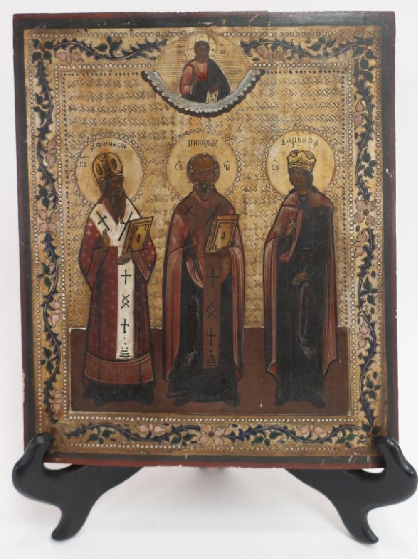 Russian Icon, 3 Saints , oil on Board