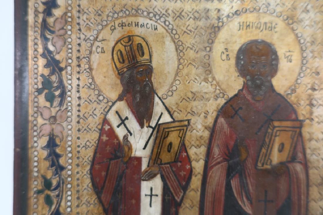 Russian Icon, 3 Saints , oil on Board - 3