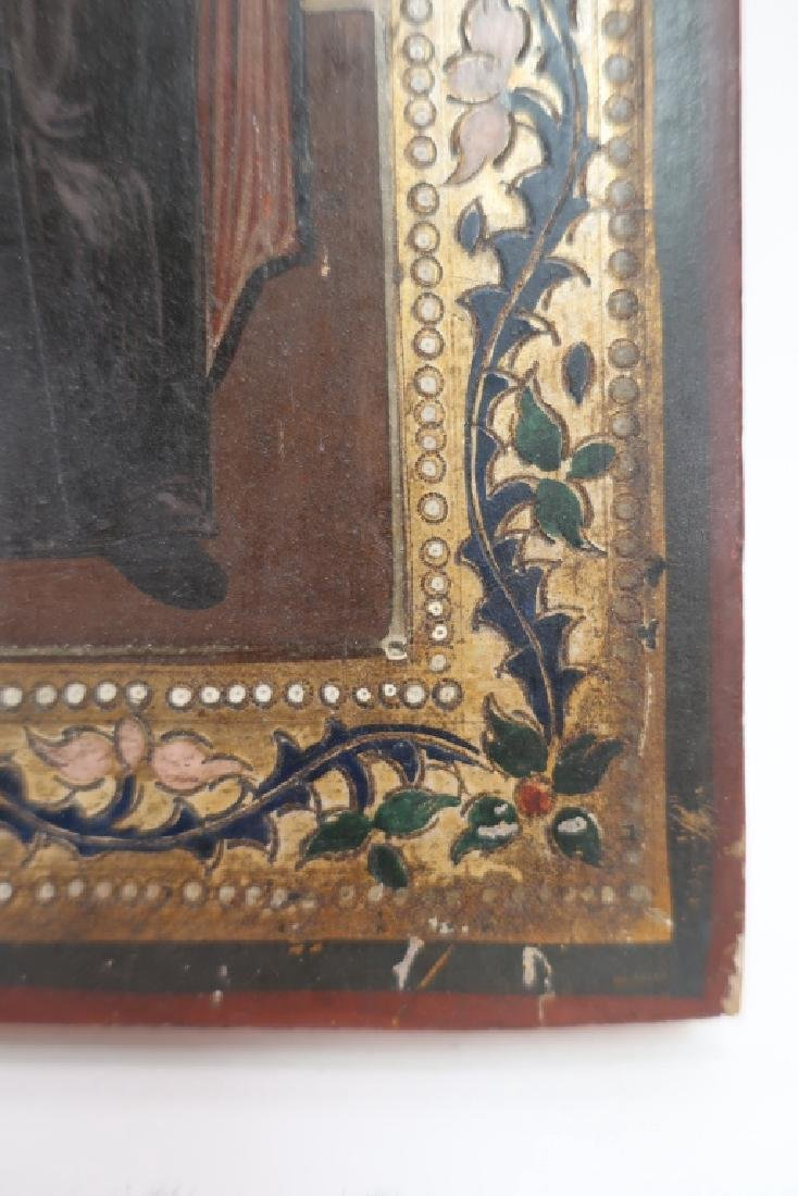 Russian Icon, 3 Saints , oil on Board - 5