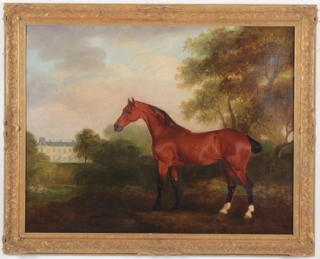 18th c. English Horse Portrait, O/C, Signed Dated