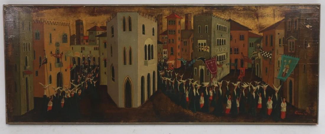 Italian School, Promenade of Nun, signed, 20th c.