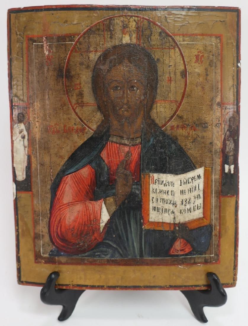 Russian Icon, Christ Pantocrator,oil on board