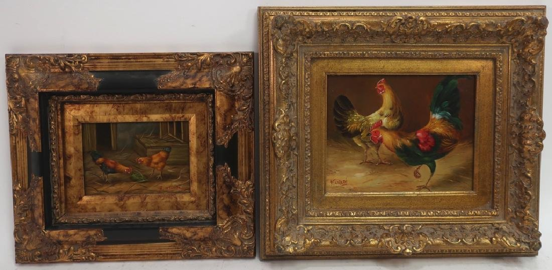 2 Paintings of Roosters, 20/21st C.