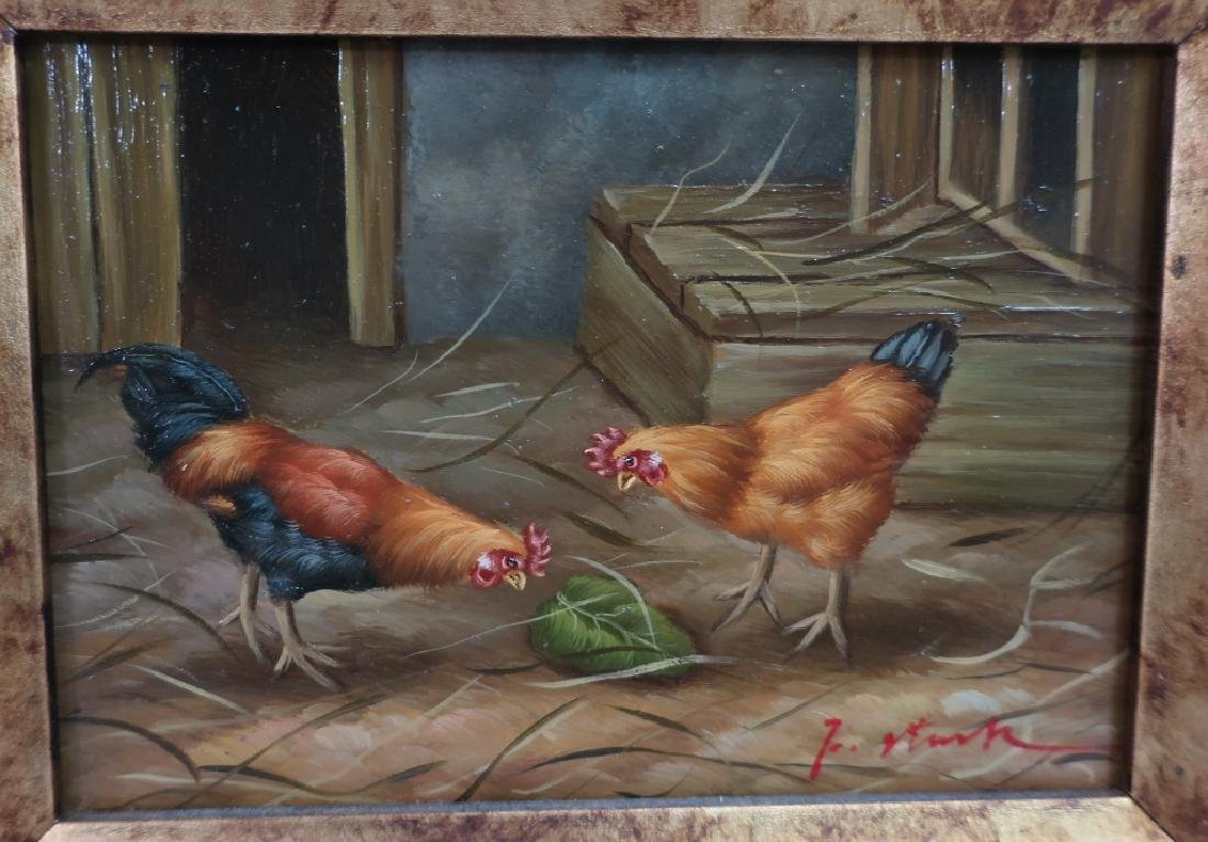 2 Paintings of Roosters, 20/21st C. - 2