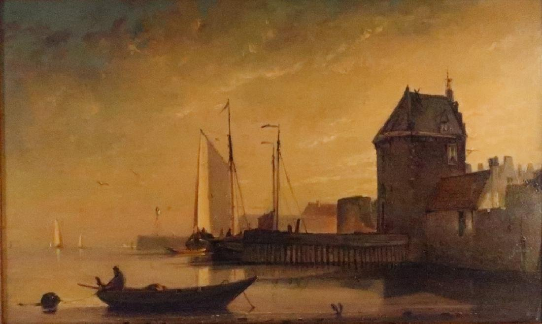 Dutch School, 19th C., Moored Barges, O/P