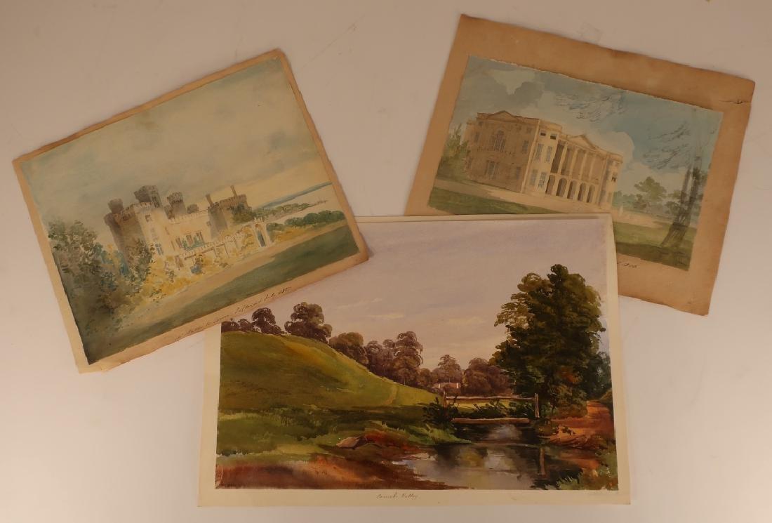 Eng. Sch, e.19th. House Portraits/Landscape, 3 W/C