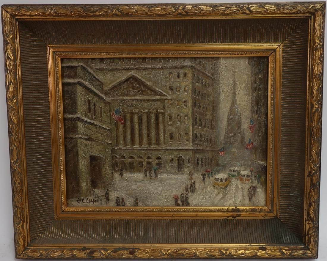 Wall Street in Winter, 20/21st C., o/p