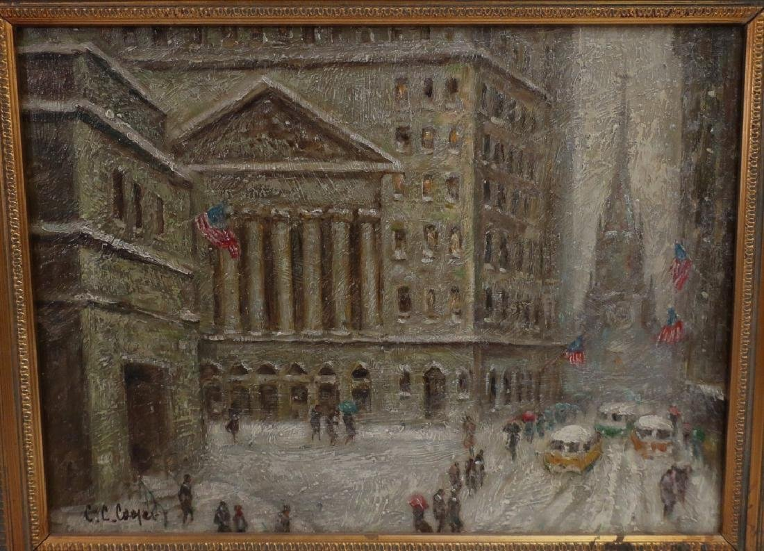 Wall Street in Winter, 20/21st C., o/p - 2
