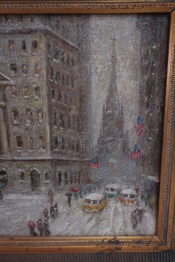 Wall Street in Winter, 20/21st C., o/p - 3