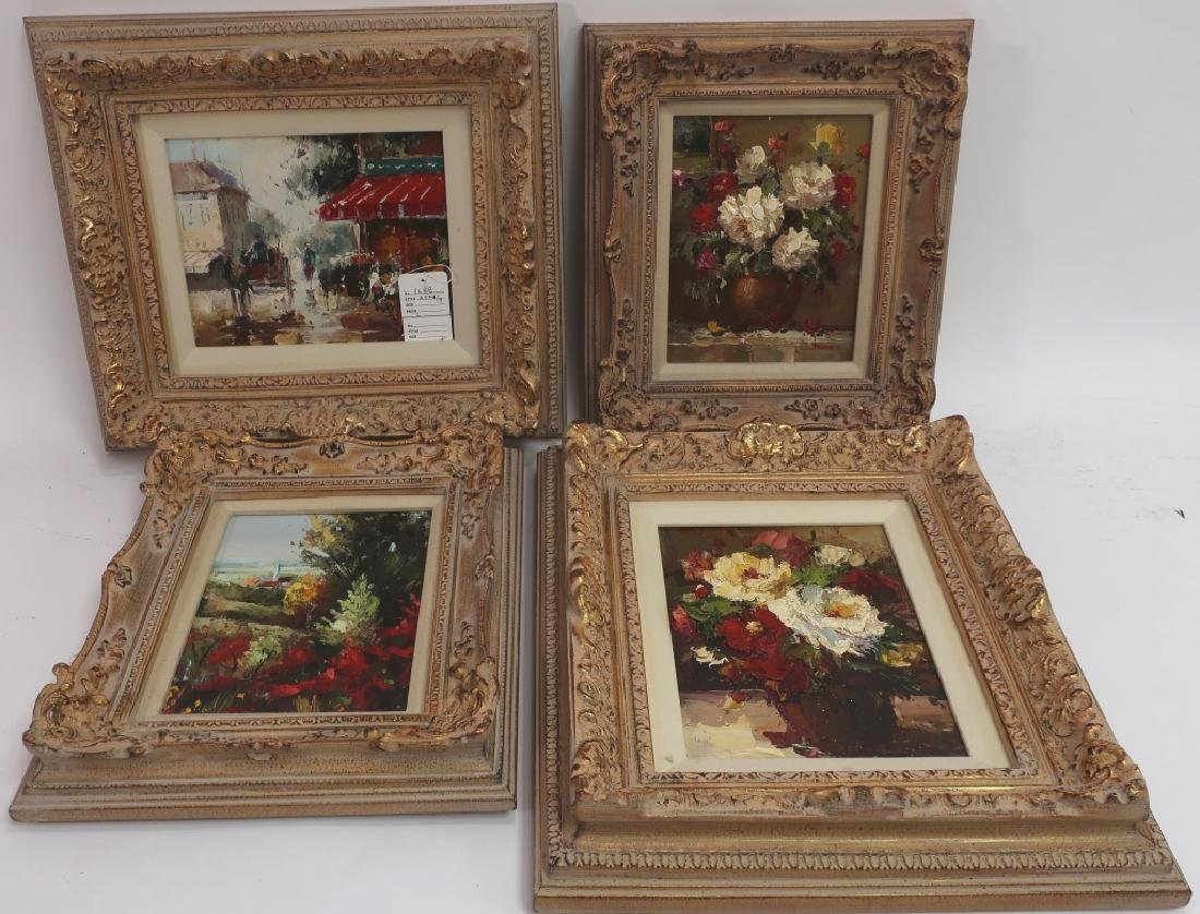 Group of 4 Paintings of Flowers, o/c