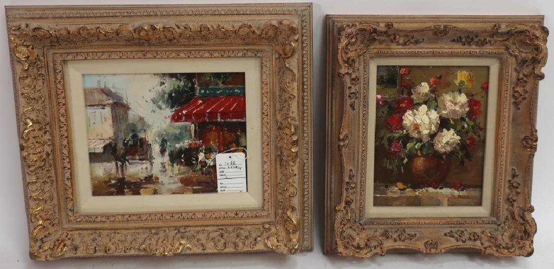 Group of 4 Paintings of Flowers, o/c - 2