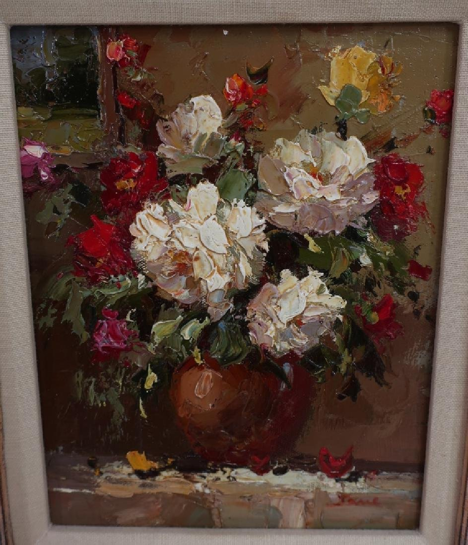 Group of 4 Paintings of Flowers, o/c - 3