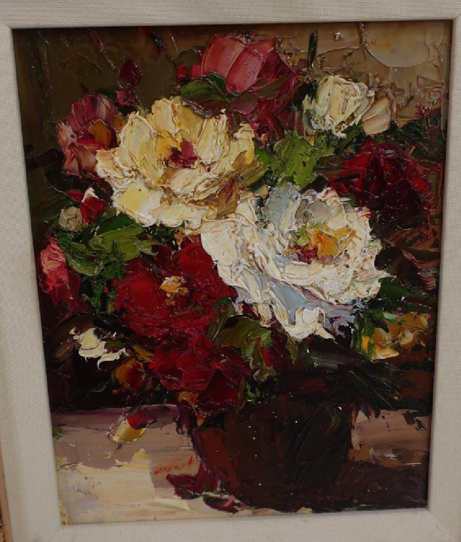 Group of 4 Paintings of Flowers, o/c - 8