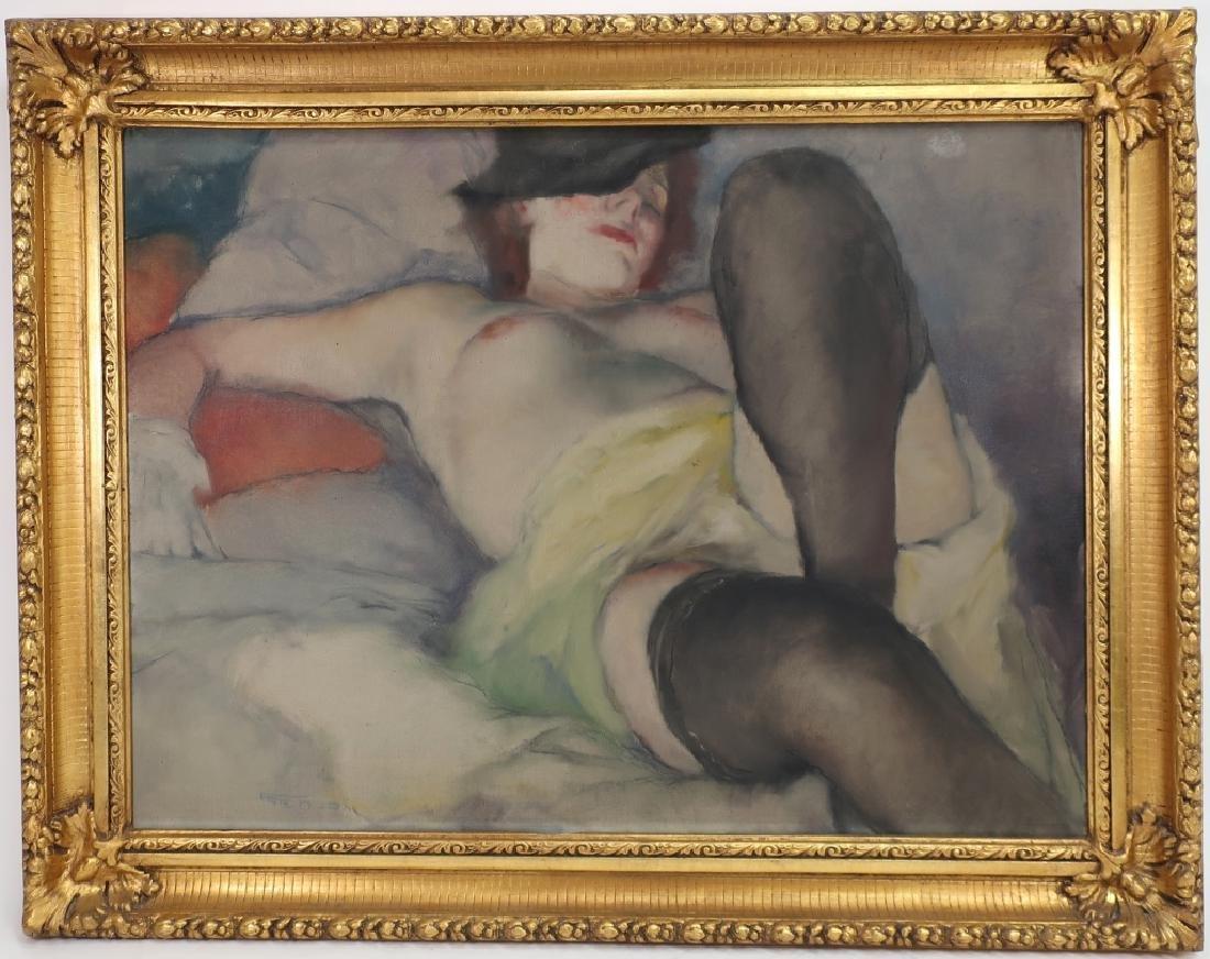Pal Fried, Hun-Am.,1893-1976, Nude w Fedora, O/C