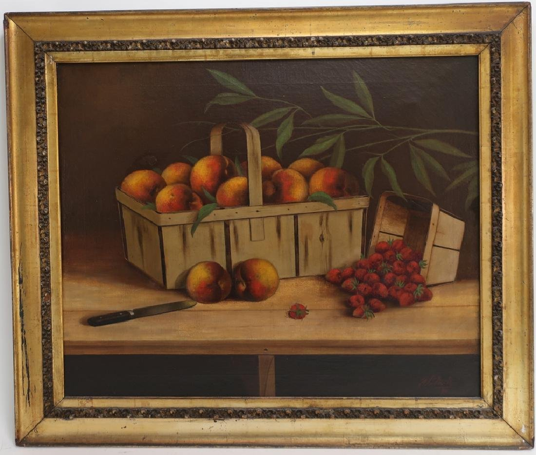 W F Nutt, American, l. 19th c., Fruit Baskets, O/C