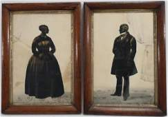 Pair 19th c American Silhouette Ink Portraits