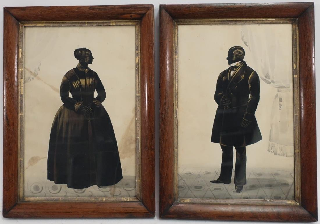 Pair 19th c. American Silhouette Ink Portraits