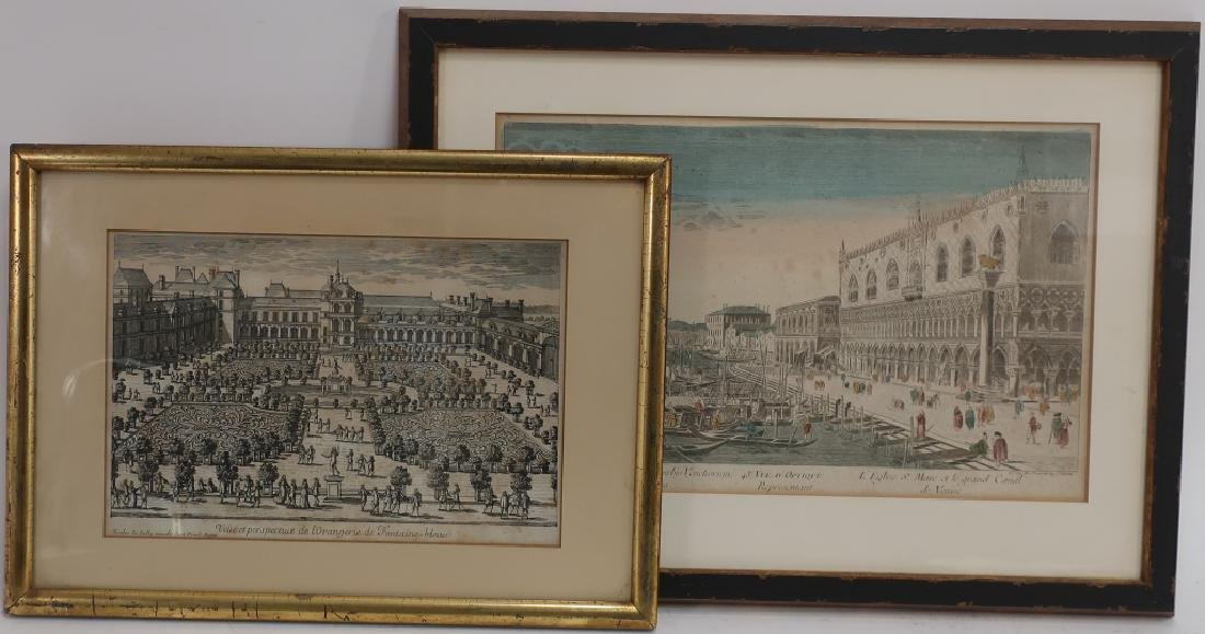 2 18th c. Engravings: Venice & Fontaine Bleau