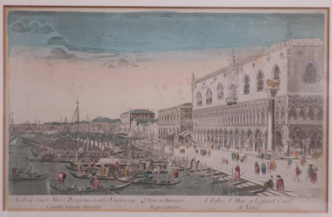 2 18th c. Engravings: Venice & Fontaine Bleau - 3