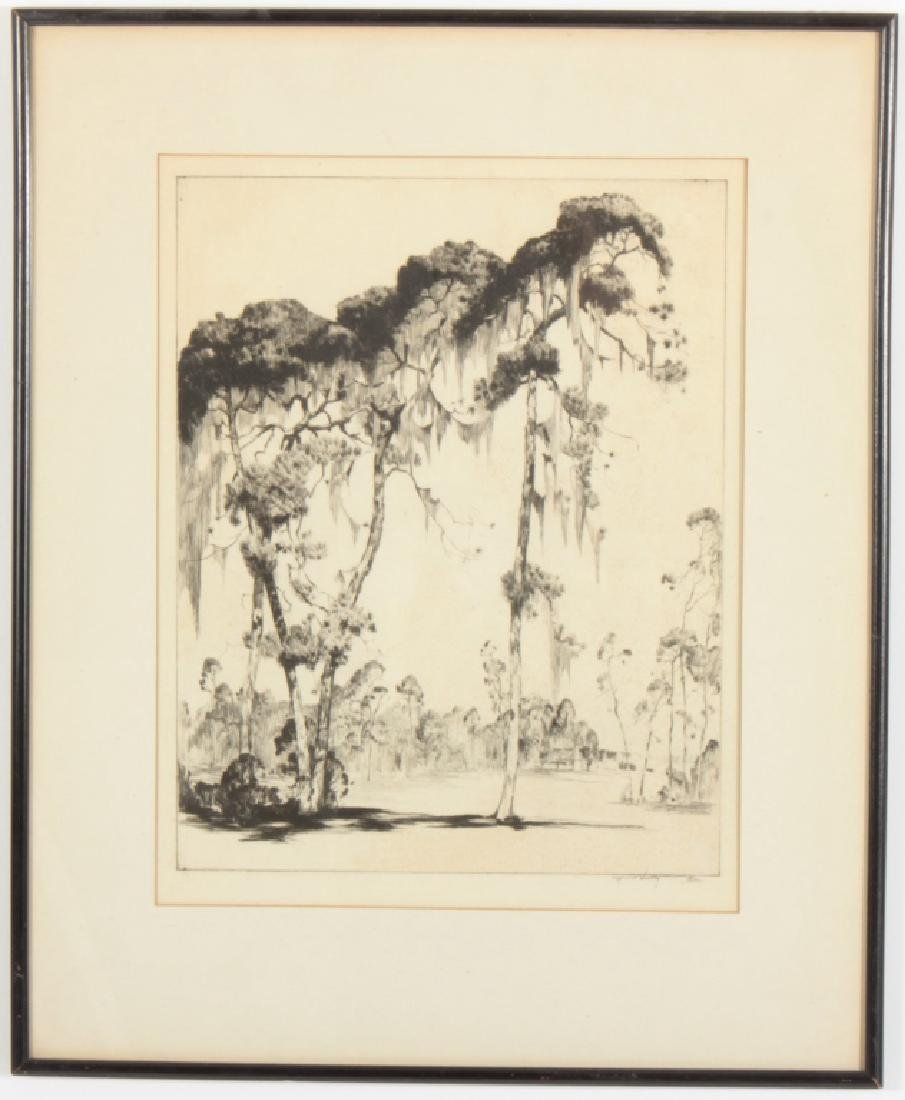 "Alfred Hutty, Am. ""Carolina Pines"" 1935, drypoint"