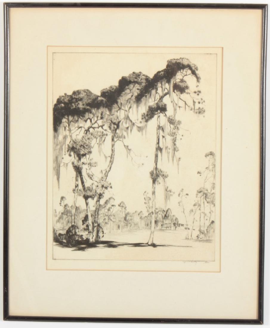 "Alfred Hutty, Am. ""Carolina Pines"" 1935, drypoint"