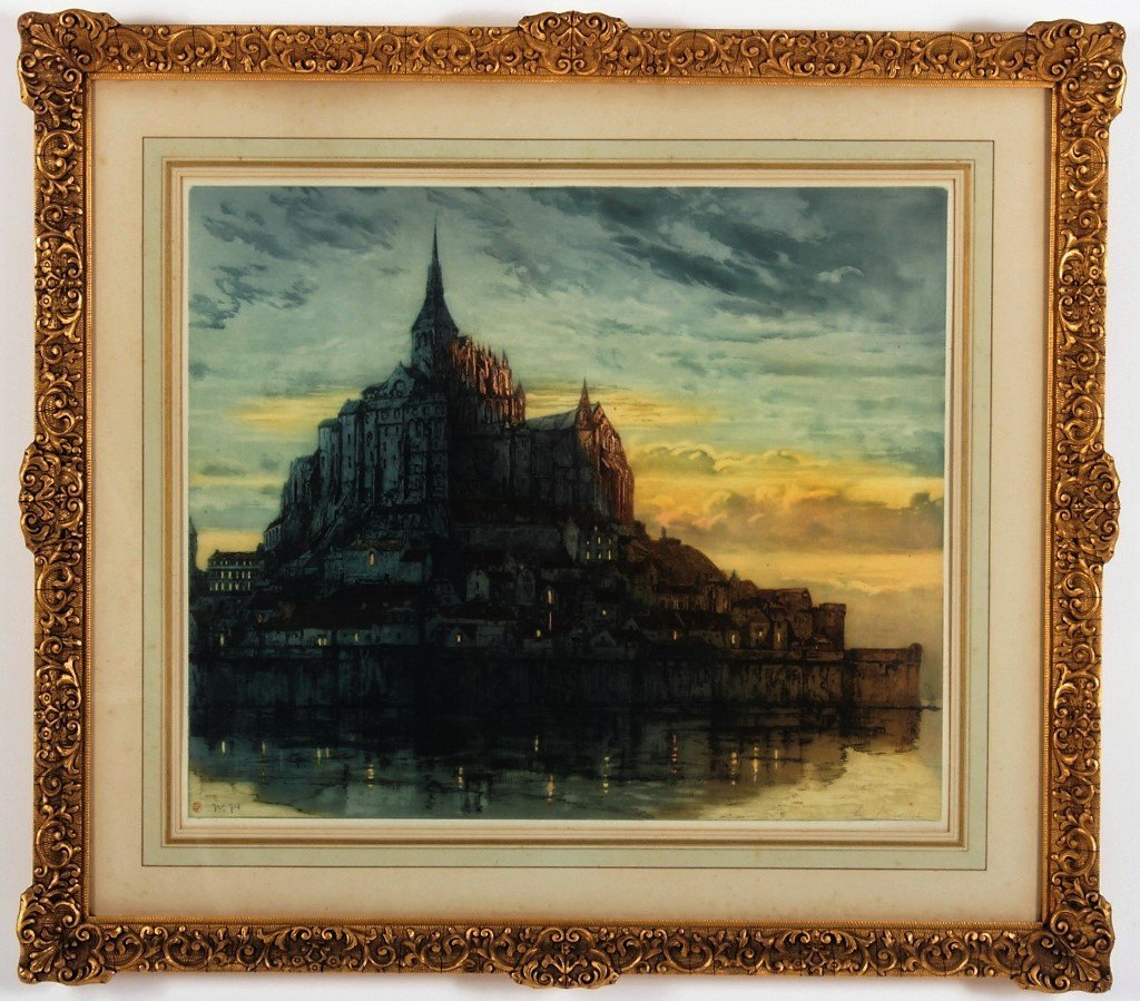 Auguste Brouet 1872-1941 Mont St. Michel, Etching