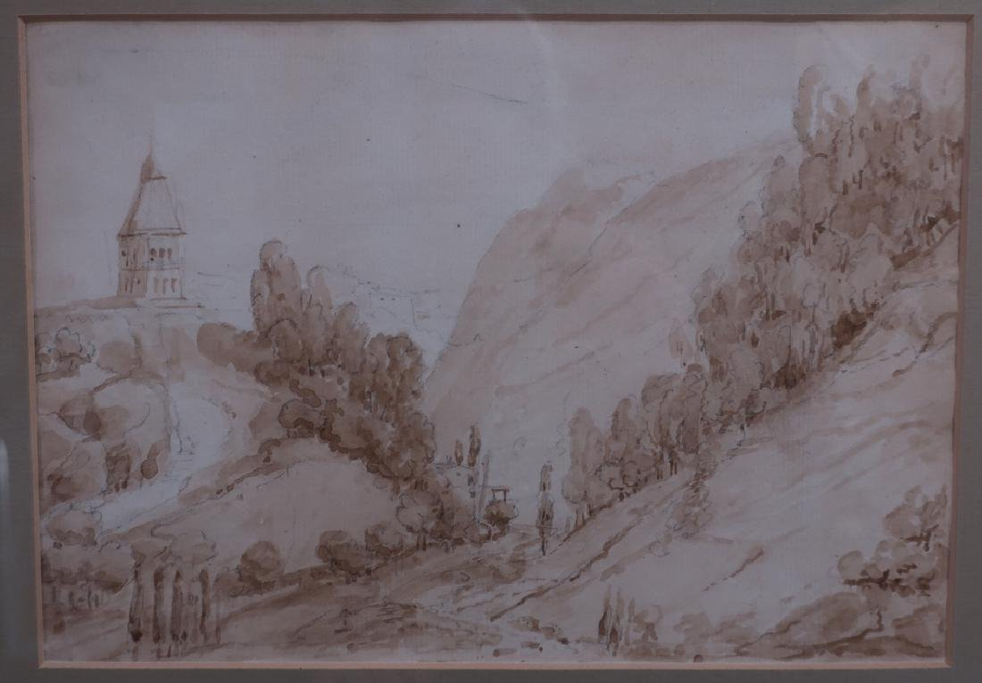 Cont'l Sch, 18th c., Pair of Landscapes, Pen/Ink