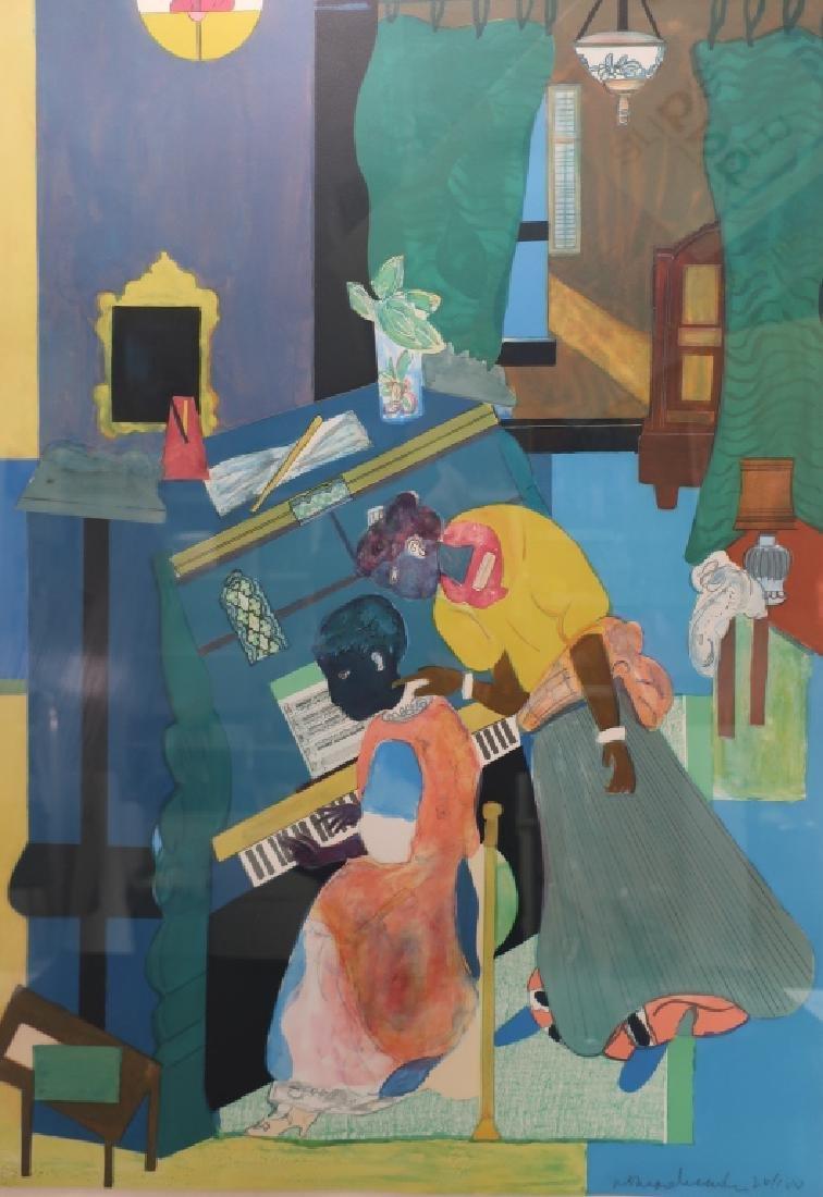 """Romare Bearden Am. """"Piano Lesson"""" Color Lithograph"""