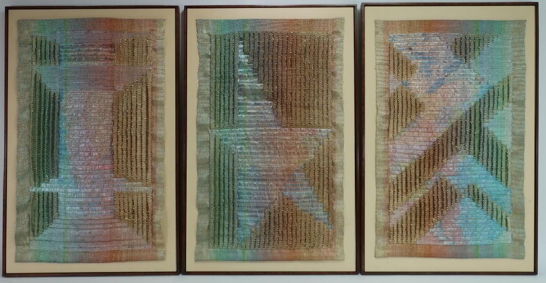 Lot of 3: Triptych, Abstract Textile Art, 20th c.
