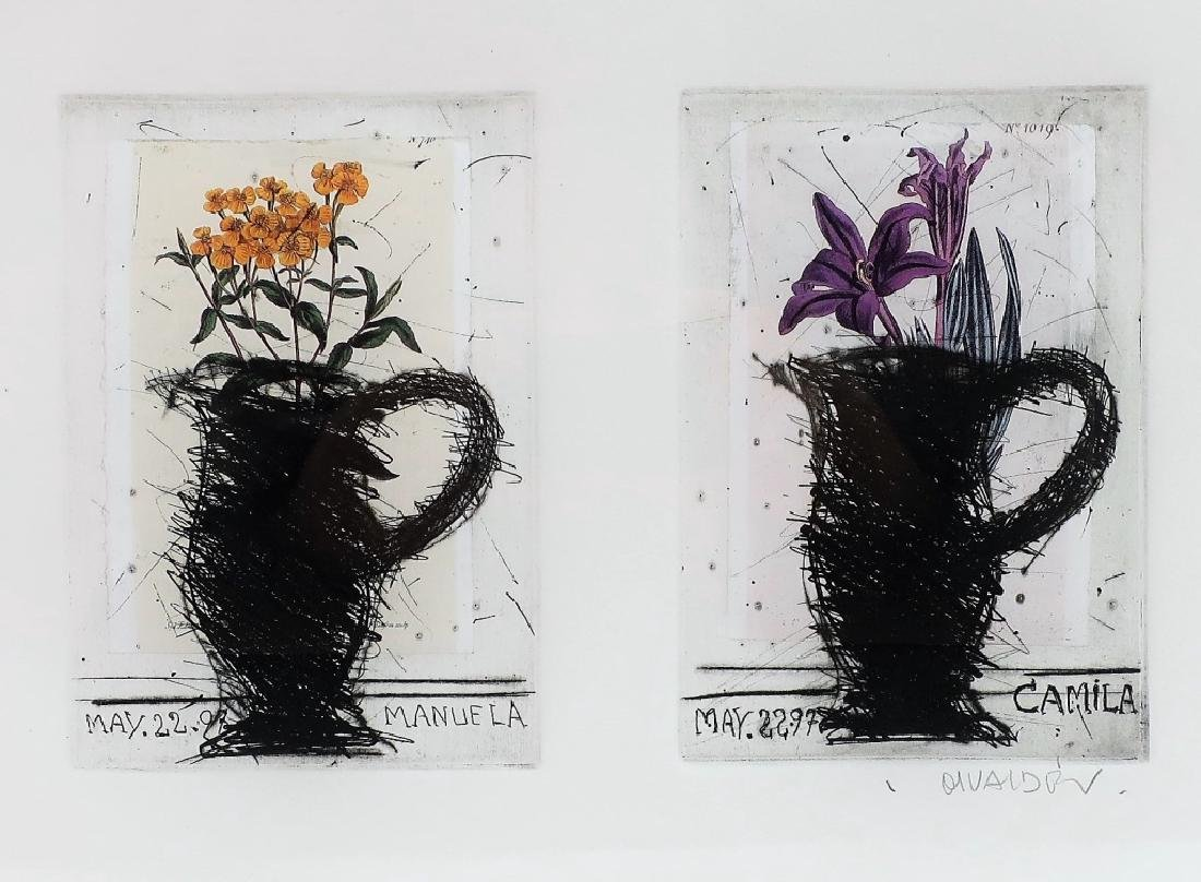 Manolo Valdes, Sp, b. 1942, Flower Vases, Collages