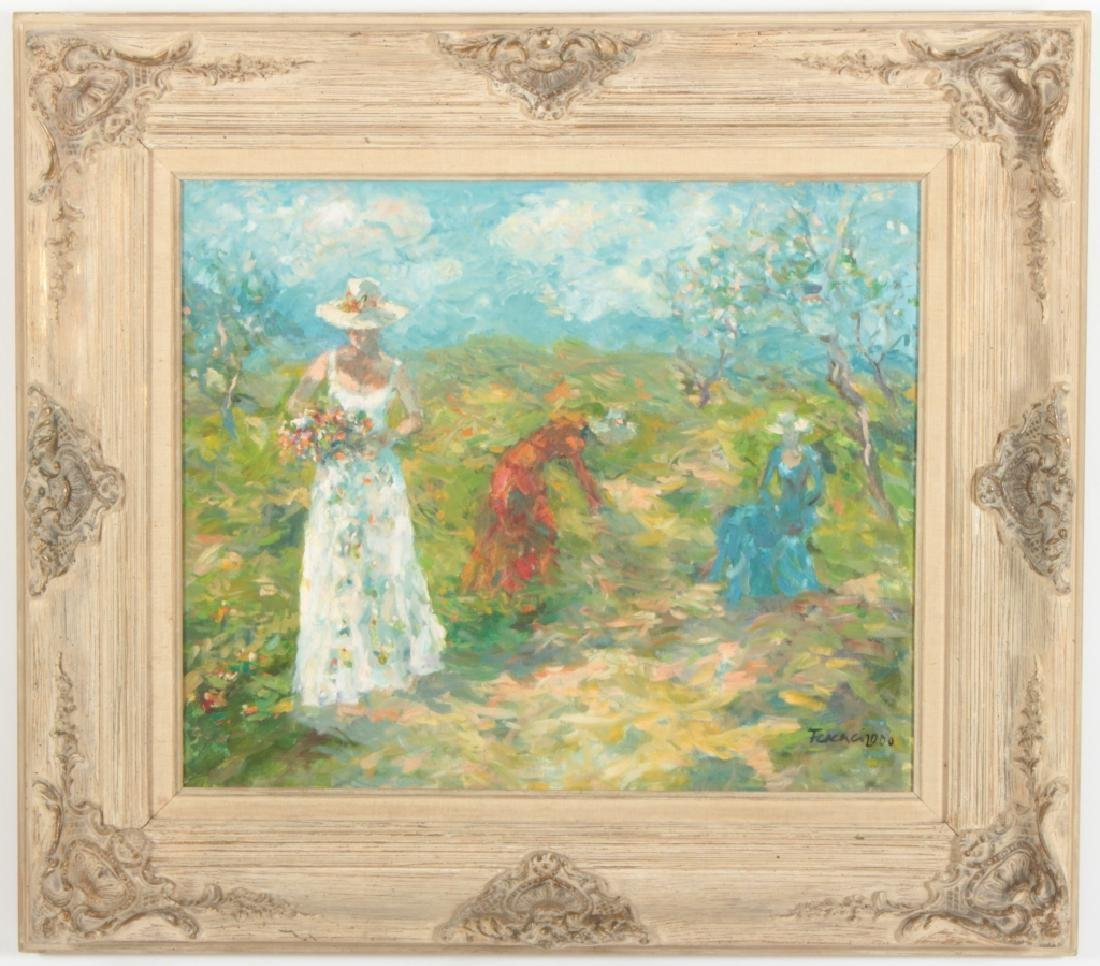 3 Women Picking Flowers, o/c