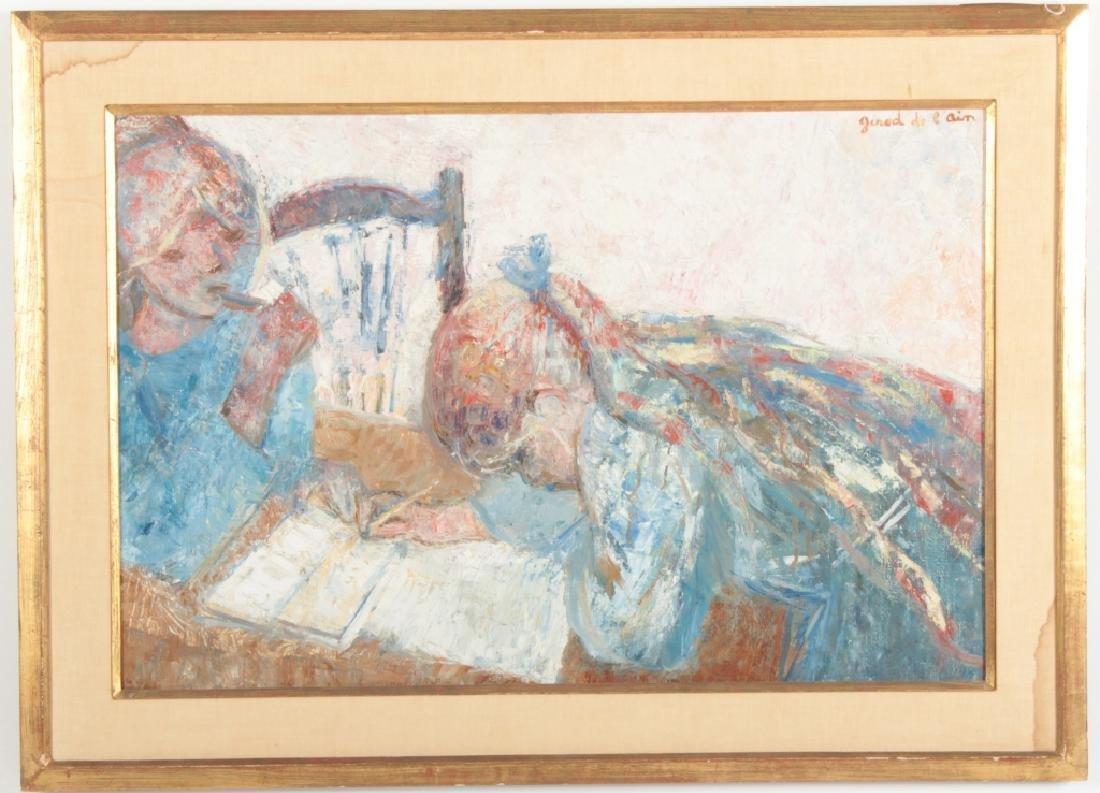 "Girod De L'Ain, Fr., ""Enfants Dessinant"", O/C"