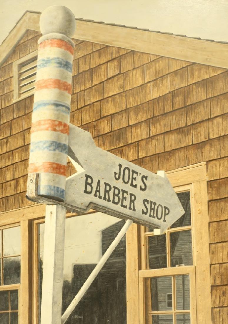 American Sch.,20th C., Joe's Barber Shop,O/B